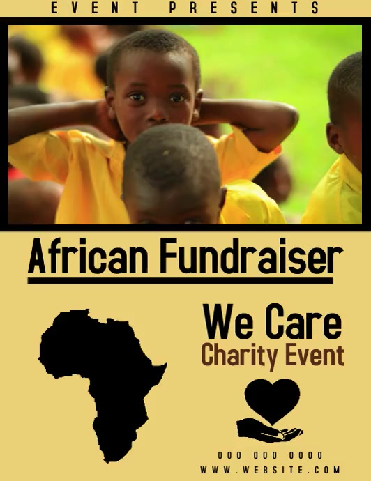 african charity event fundraising event flyer