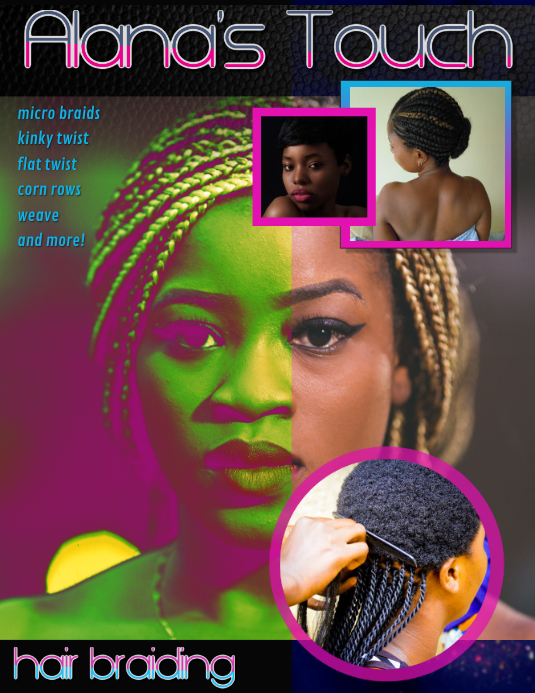 african hair braiding weave flyer ad template