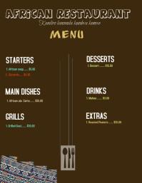 African restaurant menu