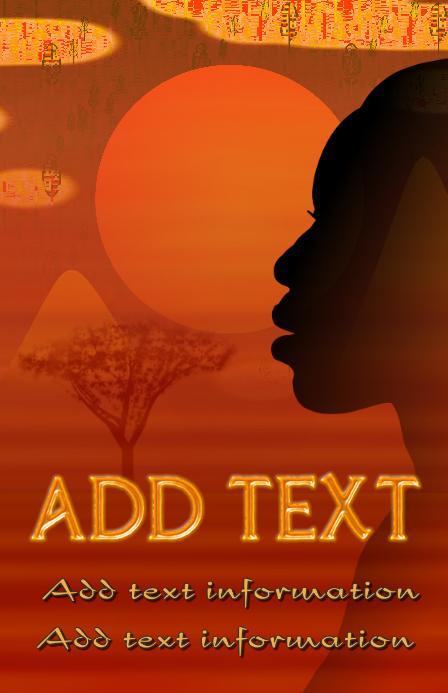 african savanna evening or dawn - sunset sunrise - orange mountains and moon template