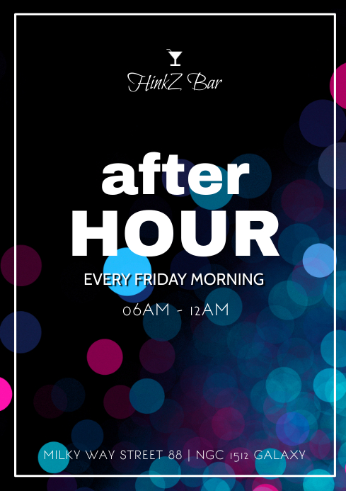 After Hour Party Event Morning Daydance club A4 template