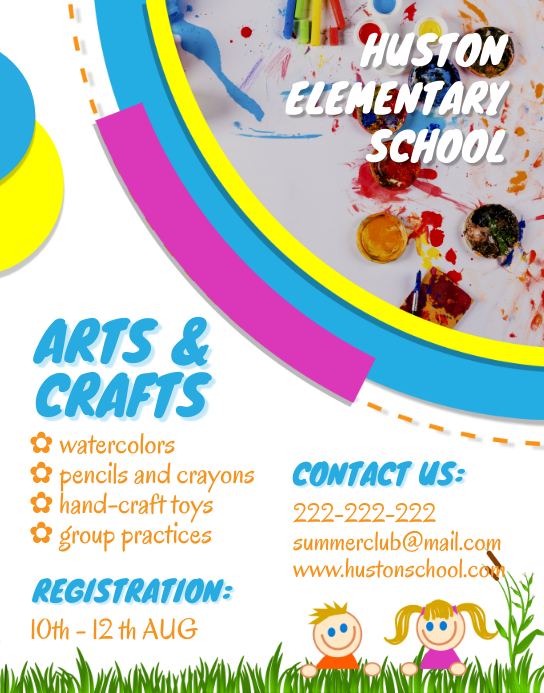 After School Arts and Crafts Flyer Poster/Wallboard template