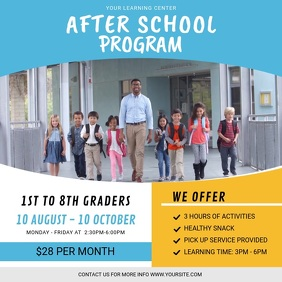After School Program Advertisement Instagram Square (1:1) template