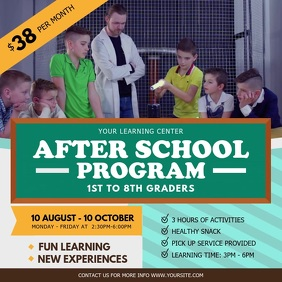 After School Program Advertisement Square Vid template