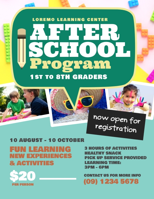 after school program flyer template postermywall