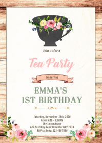 Afternoon tea birthday shower card A6 template