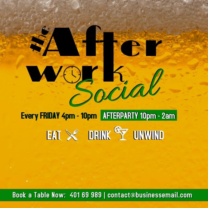 Afterwork Social at bar every Friday