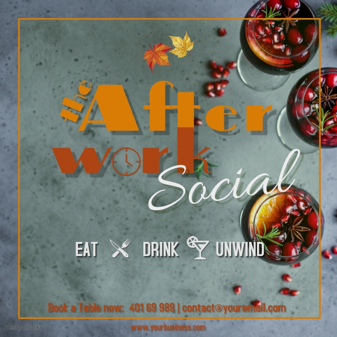 Afterwork Social at the bar every Friday Spri Квадрат (1 : 1) template