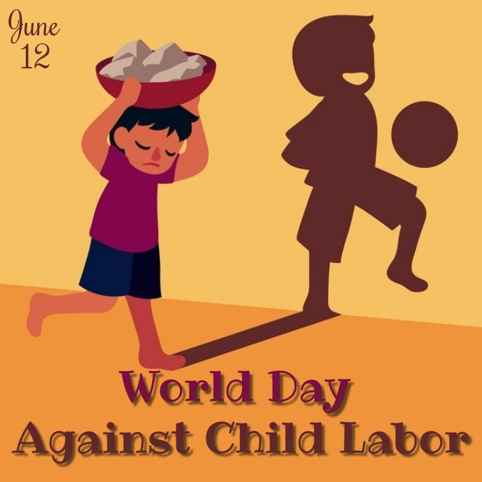 against child labor day Instagram 帖子 template
