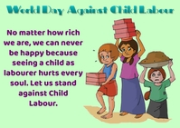 Against Child Labour Day Briefkaart template