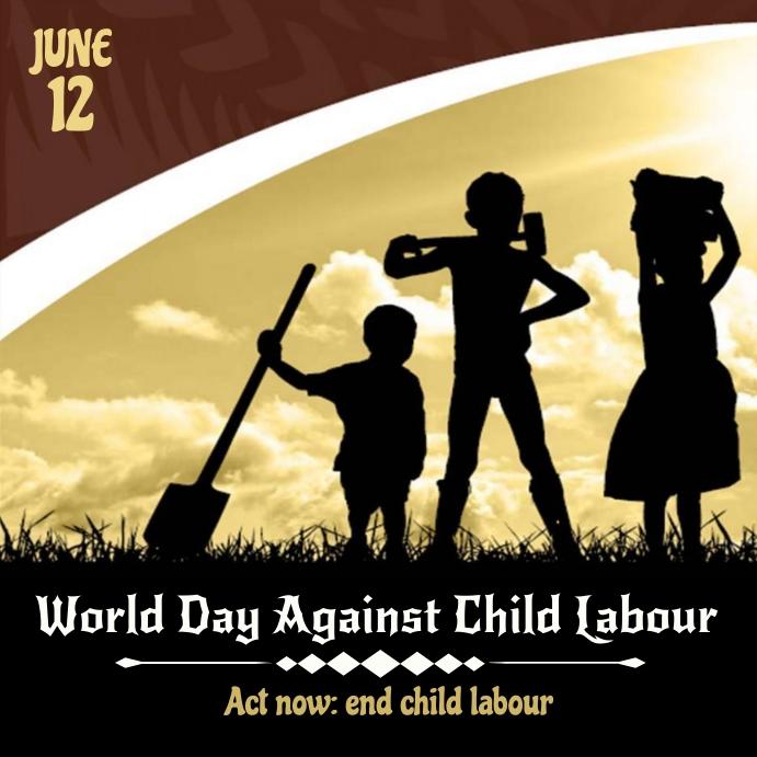 Against Child Labour Day Instagram 帖子 template