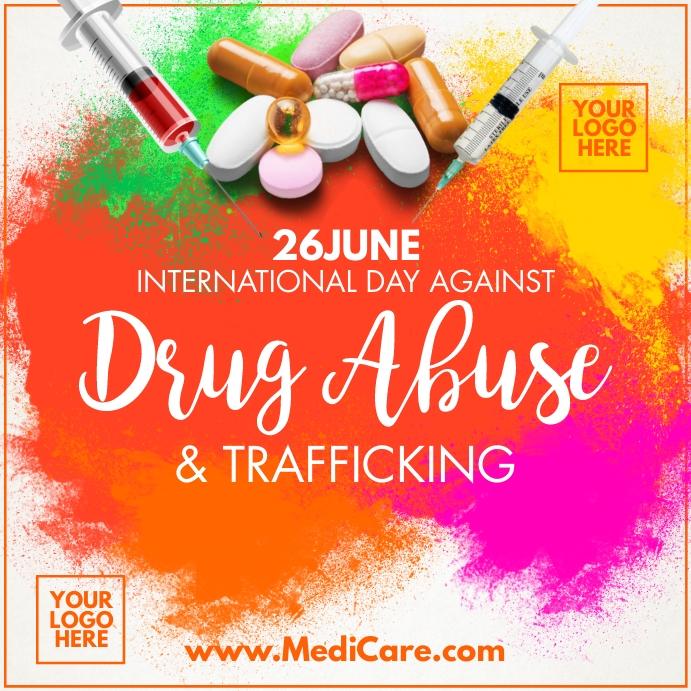 Against Drug Abuse 2021 Post Template โพสต์บน Instagram