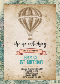 Air Balloon birthday party invitation