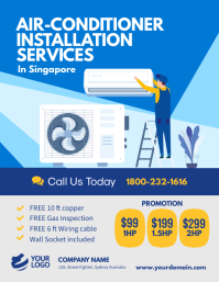 Air conditioner flyer poster template