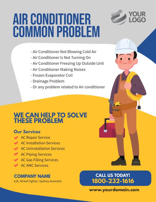 Air Conditioner services flyer Template Løbeseddel (US Letter)