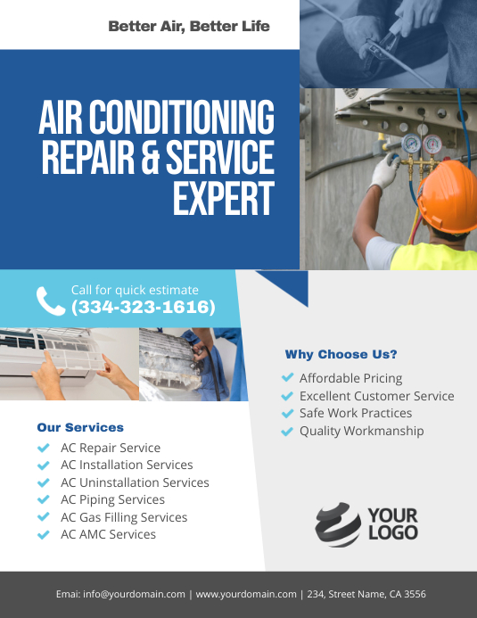 AIR CONDITIONING REPAIR & SERVICE EXPERT Volantino (US Letter) template