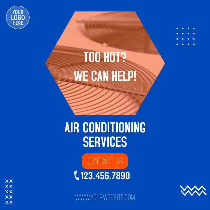 Air Conditioning Services Ad Kvadrat (1:1) template