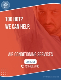Air Conditioning Services Ad Folheto (US Letter) template