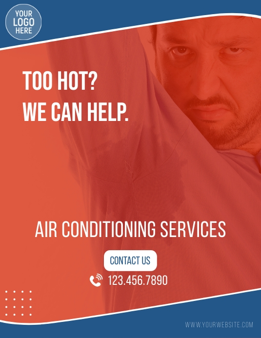 Air Conditioning Services Ad Løbeseddel (US Letter) template
