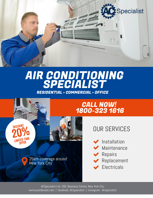 air conditioning specialist flyer poster template postermywall. Black Bedroom Furniture Sets. Home Design Ideas