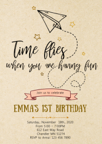 Airplane 1st birthday party invitation A6 template