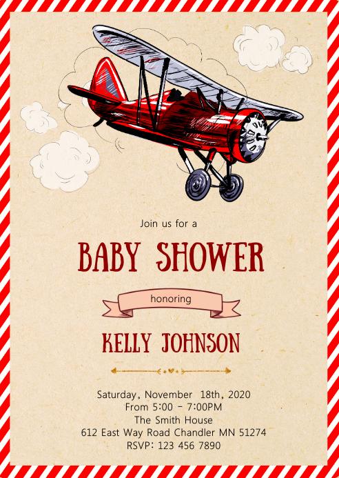 Airplane baby shower elephant invitation