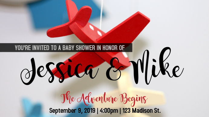 Airplane Baby Shower for a Boy 数字显示屏 (16:9) template