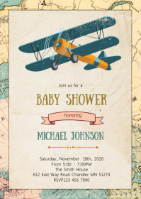 Airplane baby shower party invitation A6 template