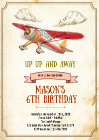 Airplane birthday party invitation A6 template