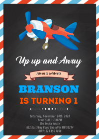 Airplane birthday shower party invitation A6 template