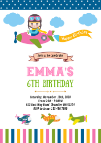Airplane girl birthday party invitation A6 template