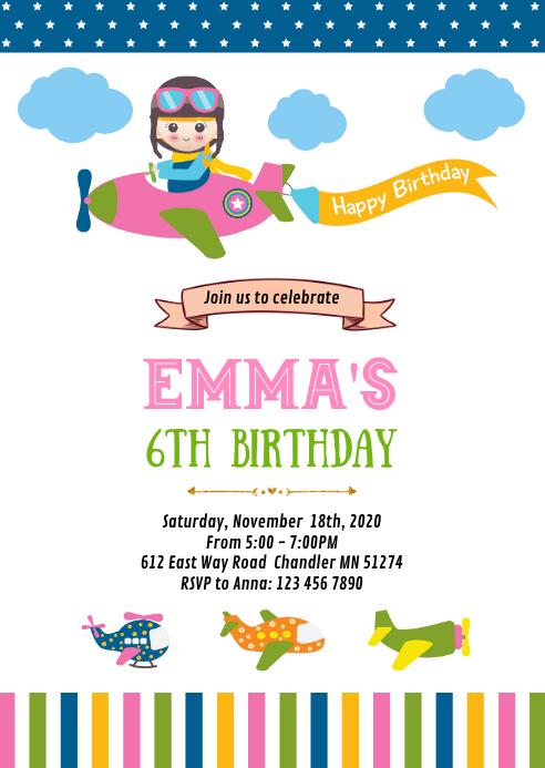 Airplane girl birthday party invitation