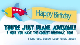 Airplane Kids Happy Birthday