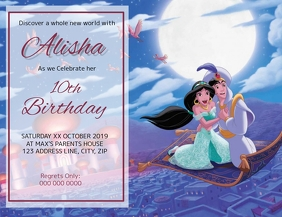 Aladdin Kids Birthday Invitation Template