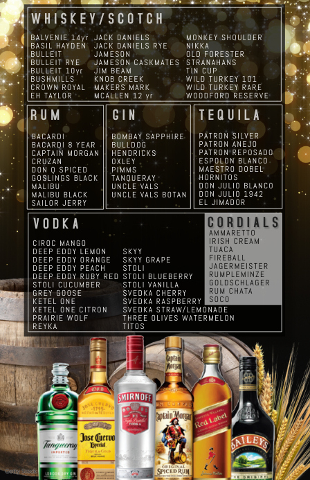 alchohol SPIRITS LIST
