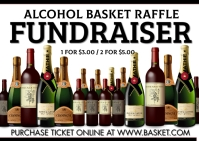 Alcohol Basket raffle fundraiser Carte postale template