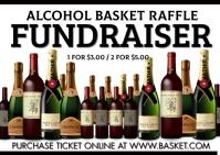 Alcohol Basket raffle fundraiser Kartu Pos template
