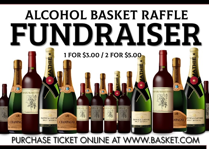 Alcohol Basket raffle fundraiser Kartu Pos template