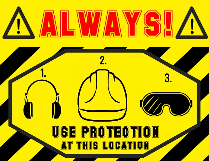 alert sign - safety helmet goggles earmuffs