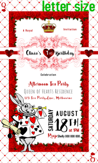 Alice in Wonderland Queen of Hearts invitation