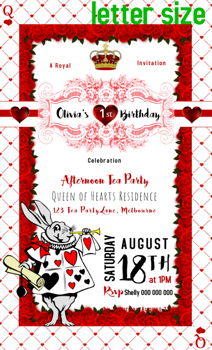 Alice in Wonderland Queen of Hearts invitation