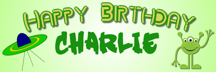 Alien Birthday Banner Bannier 2' × 6' template