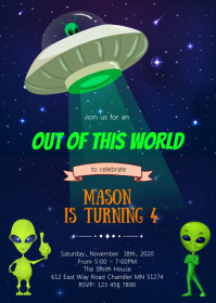 Alien Space birthday party invitation