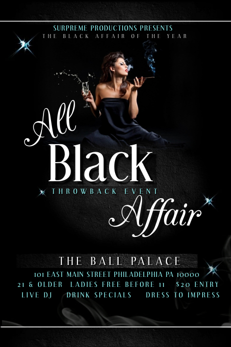 all black affair template postermywall