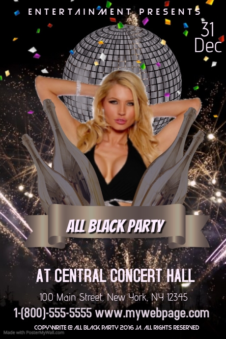 all black party template postermywall