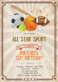 All star sport birthday party invitation A6 template