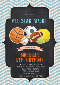 All star sport birthday party invitation
