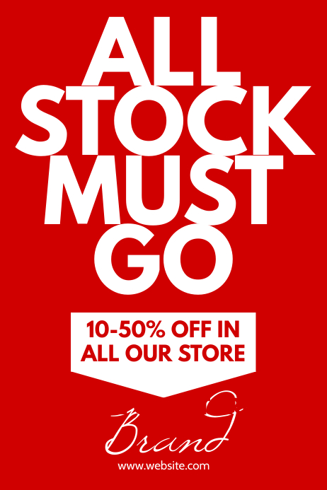 All stock must go store banner poster