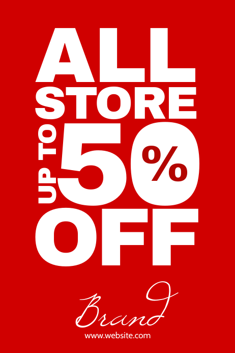 All store 50% off shop front poster