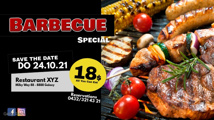 All you can eat special bbq barbecue menu ad